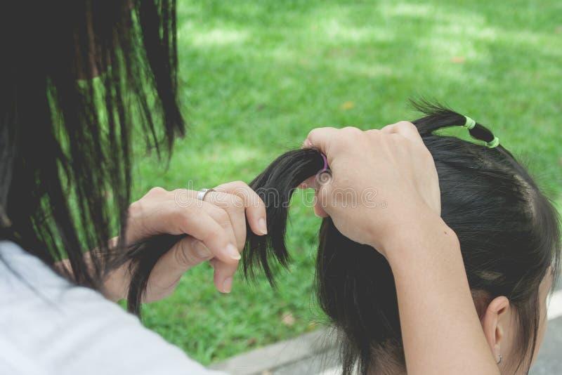 Frau, die schwarzes Haar des kleinen netten Kindes in der Pferdeschwanzart mit elastischem Band am allgemeinen Park bindet stockfoto