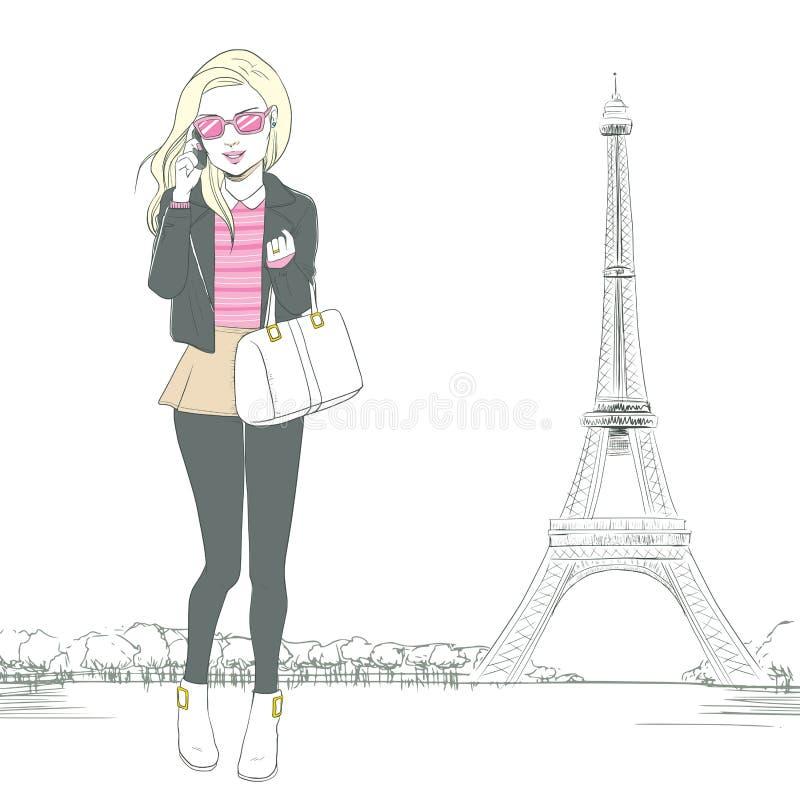 Frau, die Smartphone Paris spricht vektor abbildung
