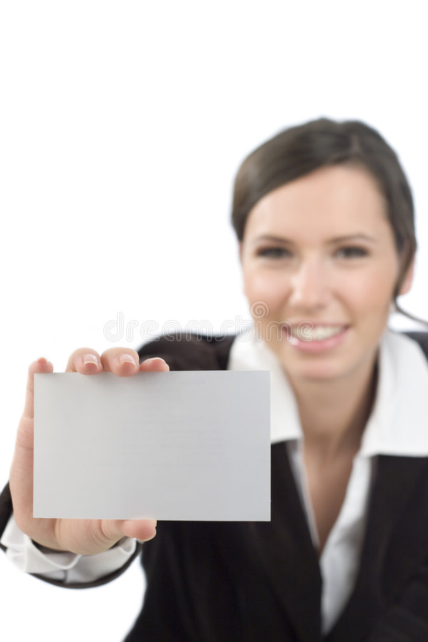 Frau, die unbelegte Karte darstellt lizenzfreie stockbilder