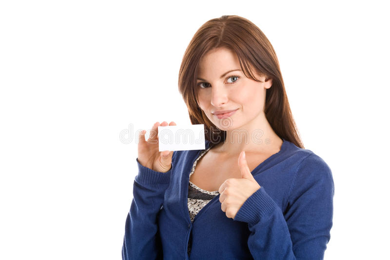 Frau, die unbelegte Visitenkarte anhält lizenzfreies stockbild