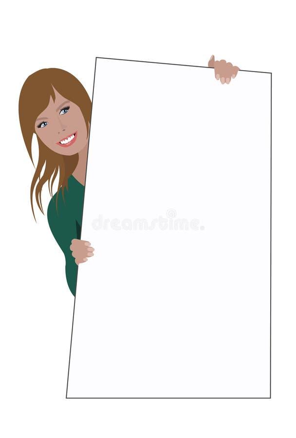 Frau, die unbelegtes Zeichen anhält vektor abbildung