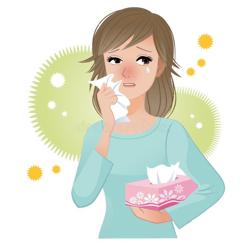 Frau, die unter Blütenstaub Allergien leidet stock abbildung