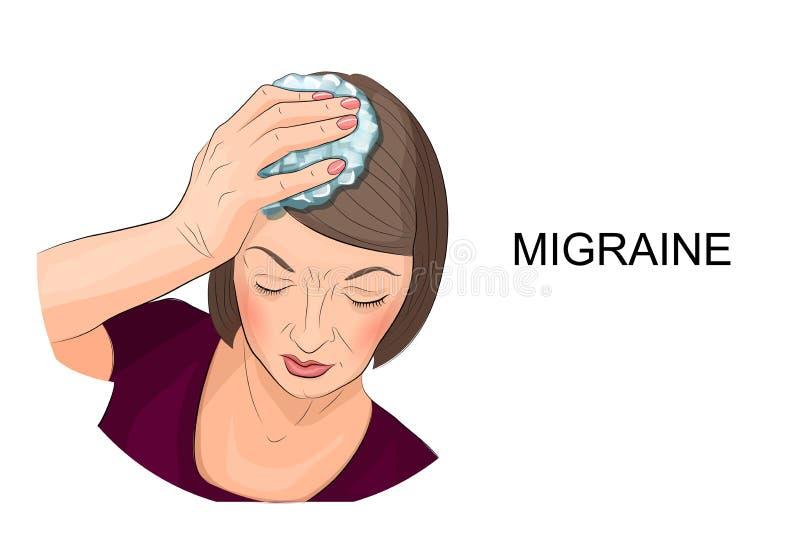 Frau, die unter den Kopfschmerzen halten Eis auf seinem Kopf leidet stock abbildung