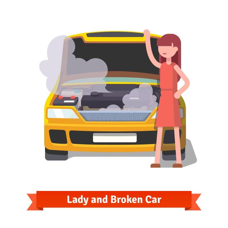 Frau, die unter der Haube ihres defekten Autos schaut lizenzfreie abbildung