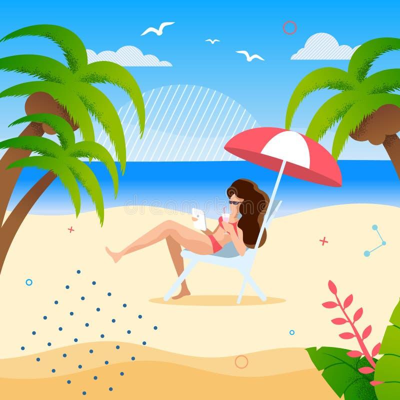 Frau, die unter Regenschirm auf tropischem Strand stillsteht stock abbildung