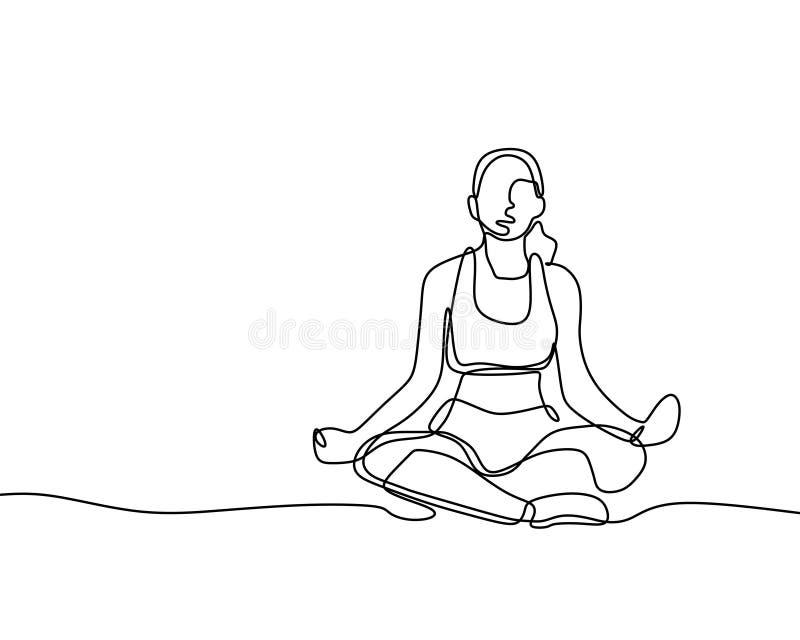 Frau, die ununterbrochenes Zeilendarstellungsminimalismusart der Yogaübung tut stock abbildung