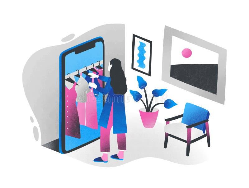 Frau, die vor riesigem Smartphone steht und die Kleidung hängt an der Aufhängerschiene innerhalb sie wählt Konzept von online lizenzfreie abbildung
