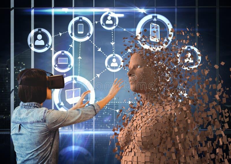Frau, die VR-Gläser beim Berühren des Menschen 3d trägt lizenzfreie abbildung