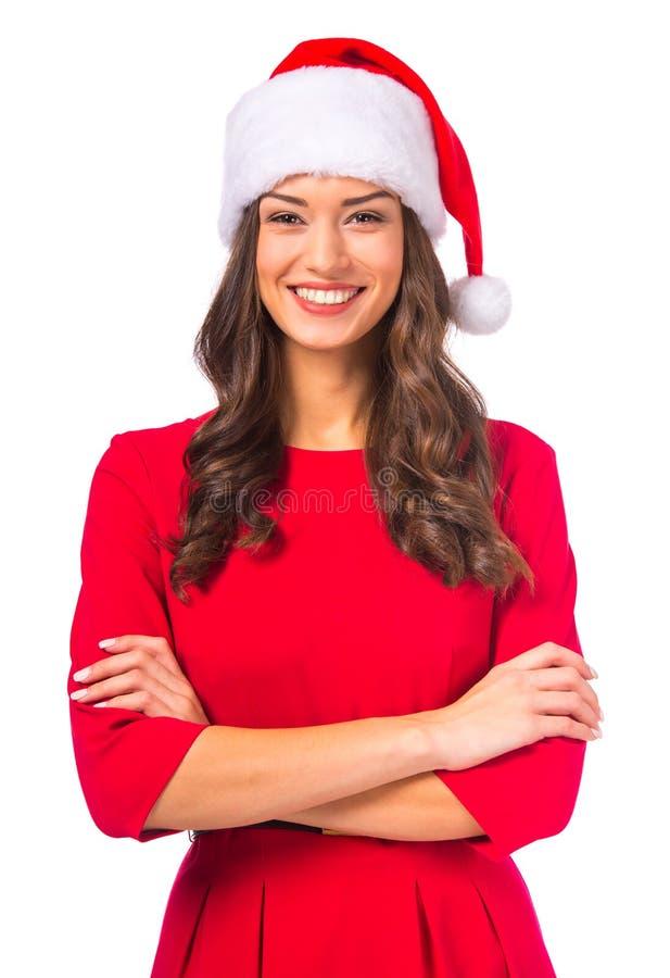 Frau, die Weihnachten feiert stockbild