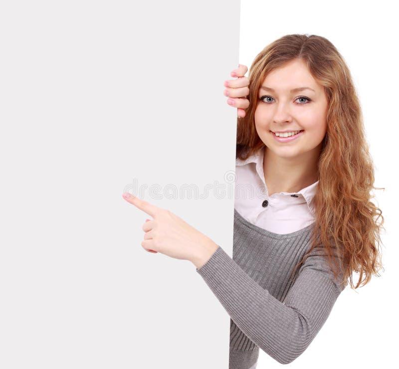 Frau, die Zeichen - Porträt einer schönen Frau anhält ein bla anhält lizenzfreies stockfoto