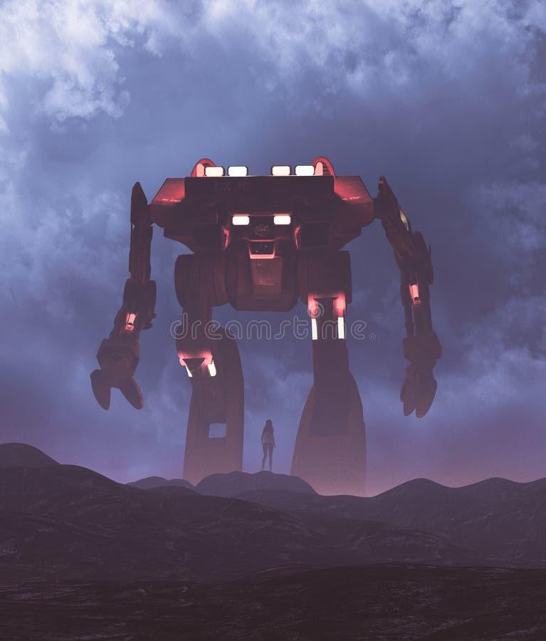 Frau, die zu einem riesigen Roboter schaut lizenzfreie abbildung
