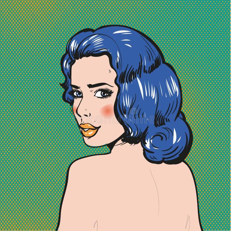 Frau, die zurück Pop-Arten-Comics-Vektorillustration schaut stock abbildung