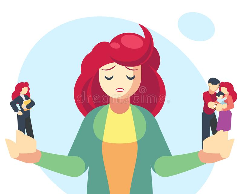 Frau, die zwischen Familien- oder Elternteilverantwortung und Karriere oder Berufserfolg wählt Schwierige Wahl, Leben stock abbildung