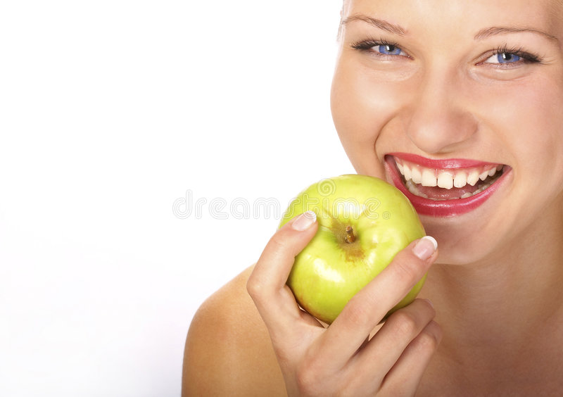 Frau ein grüner Apfel stockfoto