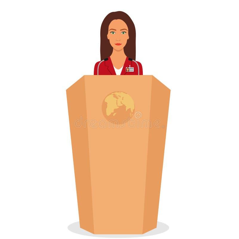 Frau in einem Anzug steht auf einem Podium vor den Mikrophonen Frauen-Redner, der von der Tribüne spricht Auch im corel abgehoben vektor abbildung
