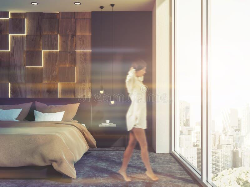 Frau in einem Dachbodenschlafzimmer morgens, Stadt stock abbildung