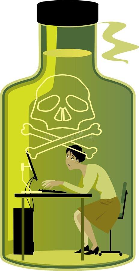 Frau in einem giftigen Arbeitsumfeld lizenzfreie abbildung