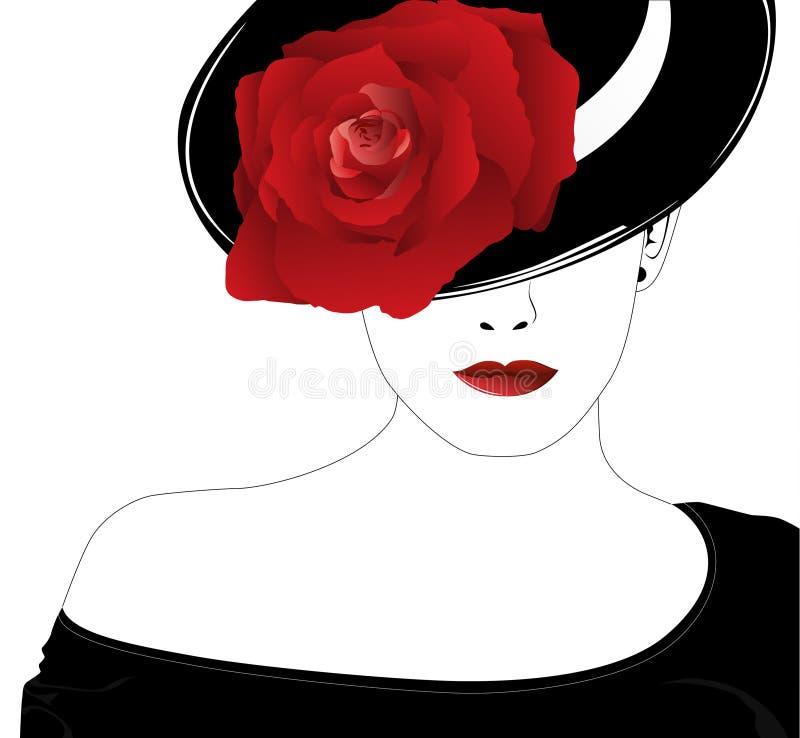 Frau in einem Hut mit einer Rose vektor abbildung
