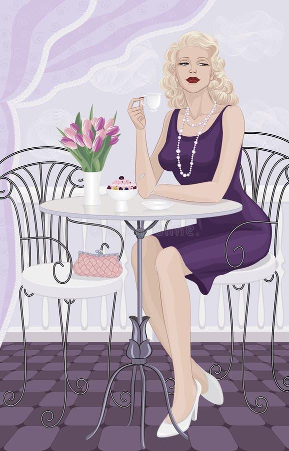 Frau an einem Kaffee lizenzfreie abbildung