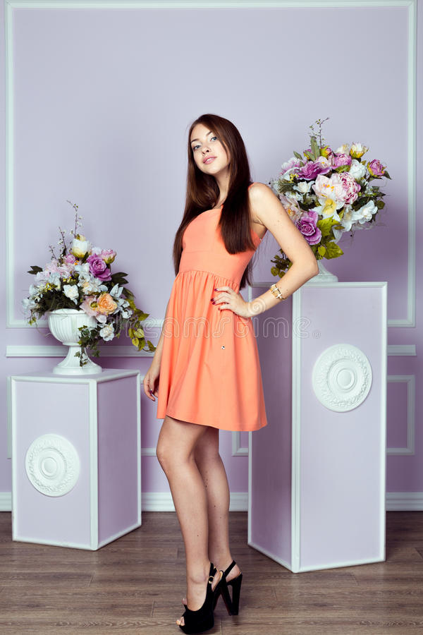 Frau in einem Kleiderkleid lizenzfreie stockbilder
