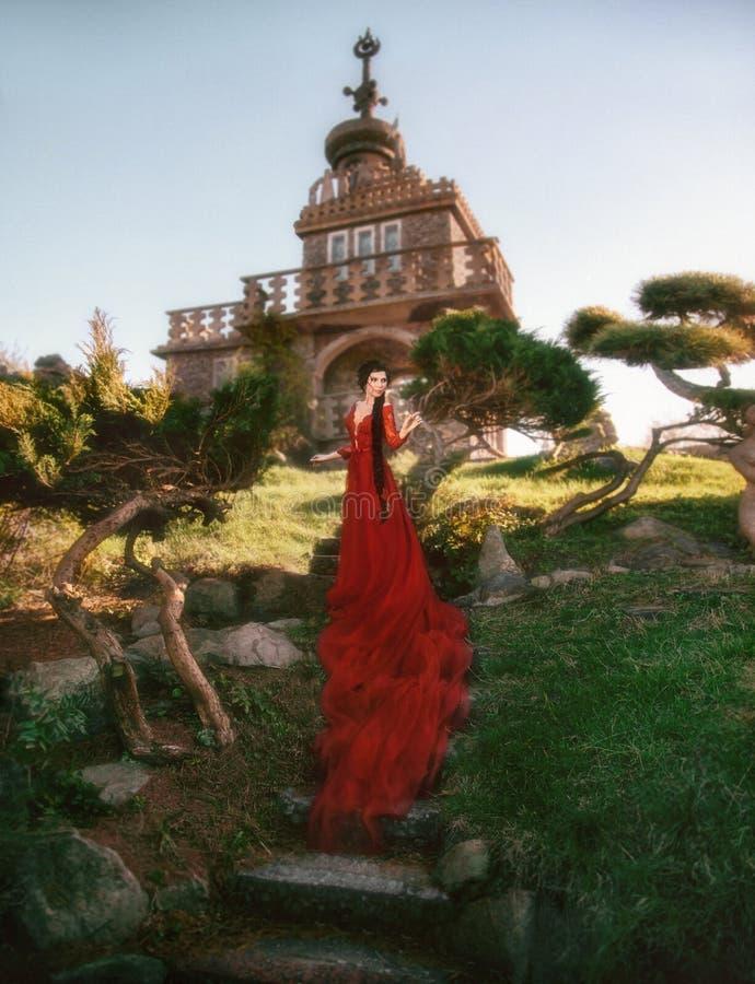 Frau in einem luxuriösen Kleid stockfotografie