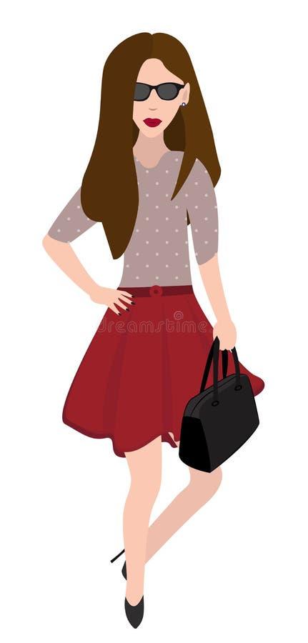 Frau in einem Rock und mit schwarzer Tasche Auch im corel abgehobenen Betrag vektor abbildung