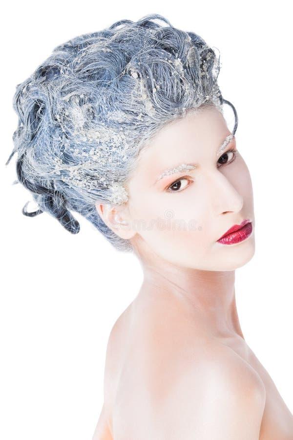 Frau eingefroren stockbilder