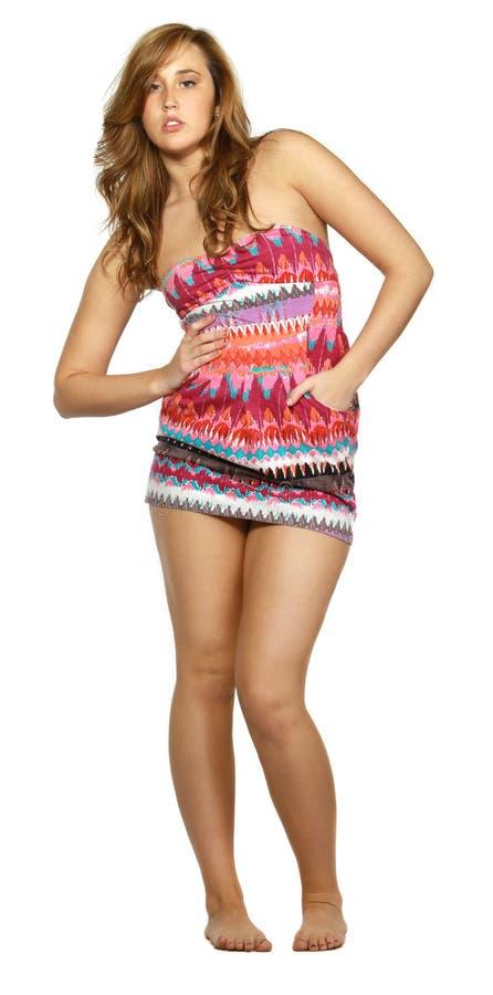 Frau eingewickelt im Tuch stockfoto