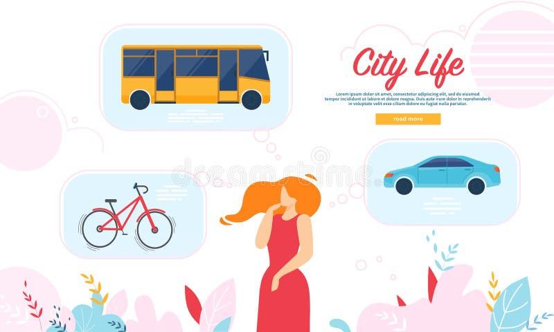 Frau entscheiden, welcher Transport, zum in der Stadt zu wählen vektor abbildung
