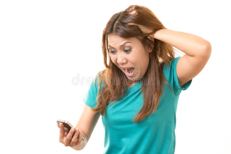Frau entsetzt lizenzfreies stockfoto
