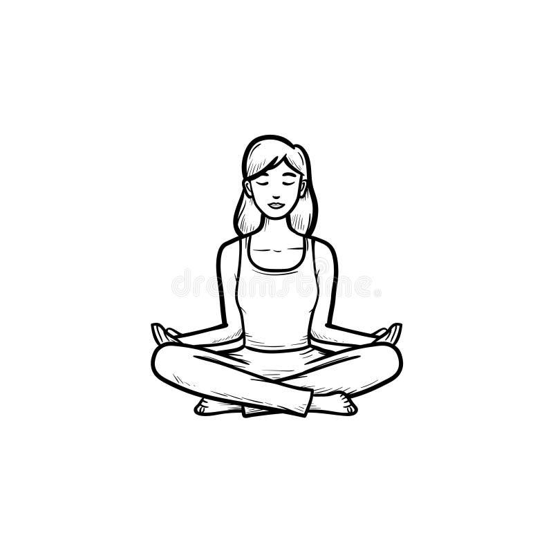 Frau in Entwurfs-Gekritzelikone der Yogalotoshaltung Hand gezeichneter lizenzfreie abbildung