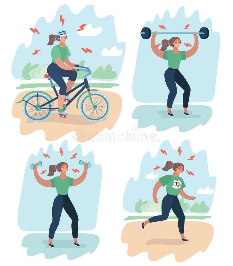Frau erschöpft durch Sport auf Training lizenzfreie abbildung