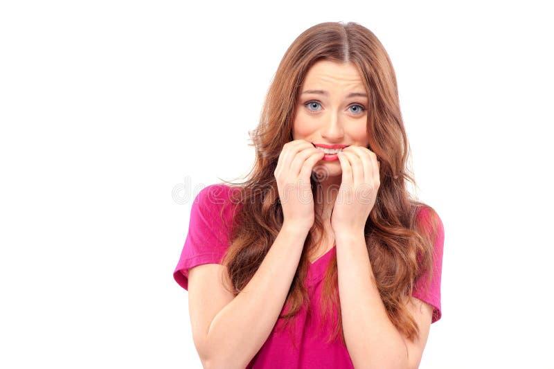 Frau erschrocken und ängstlich mit breiten geöffneten Augen lizenzfreies stockfoto