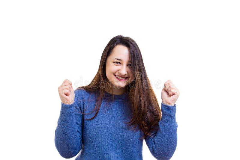 Frau feiern Erfolg lizenzfreies stockbild