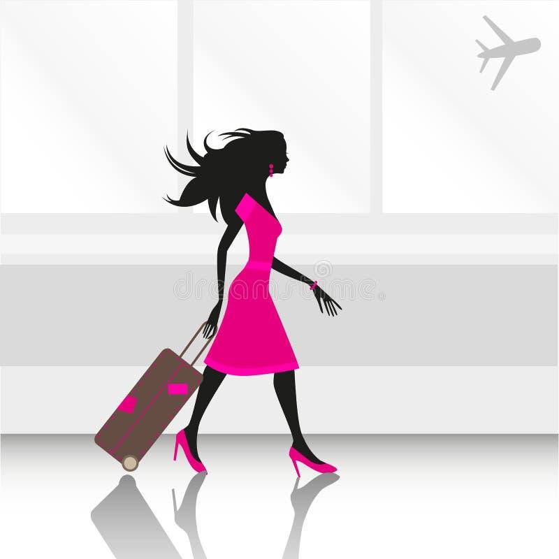Frau am Flughafen lizenzfreie abbildung