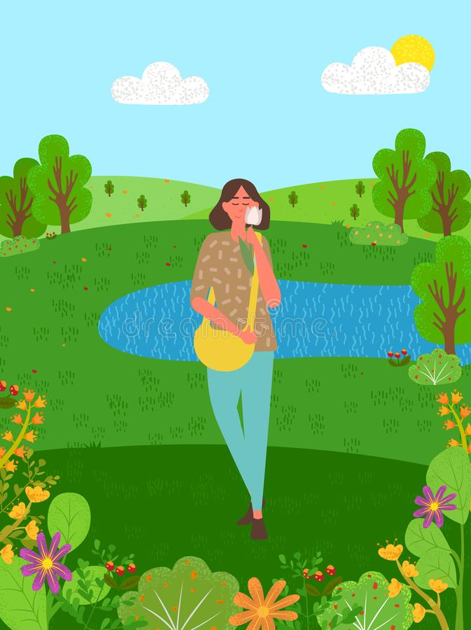 Frau in Forest Smelling Tulip Trees und im See, Himmel vektor abbildung