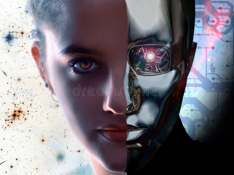 Frau gegen Roboter lizenzfreie abbildung