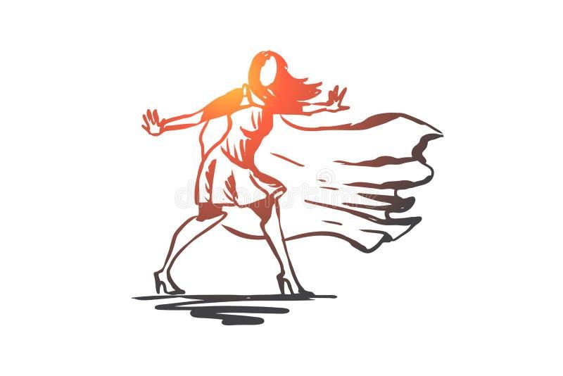 Frau, Geschäftsfrau, Funktion, Erfolg, Führungskonzept Hand gezeichneter lokalisierter Vektor lizenzfreie abbildung