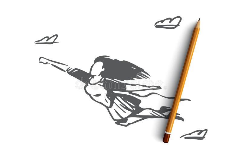 Frau, Geschäftsfrau, Funktion, Erfolg, Führungskonzept Hand gezeichneter lokalisierter Vektor stock abbildung