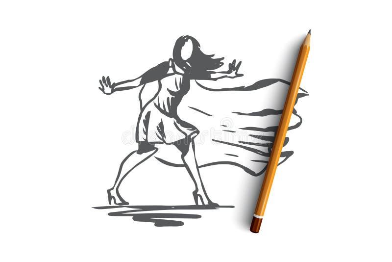 Frau, Geschäftsfrau, Funktion, Erfolg, Führungskonzept Hand gezeichneter lokalisierter Vektor vektor abbildung