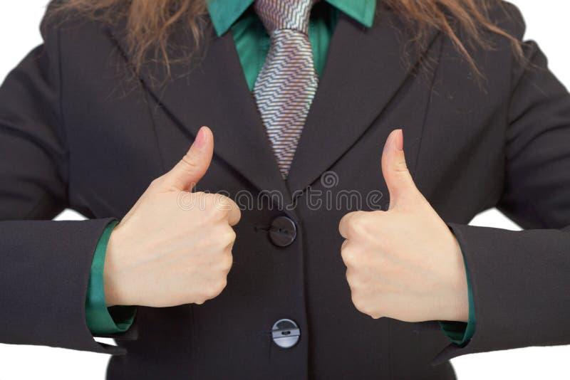 Frau gestikuliert Erscheinen wir Erfolg lizenzfreies stockfoto