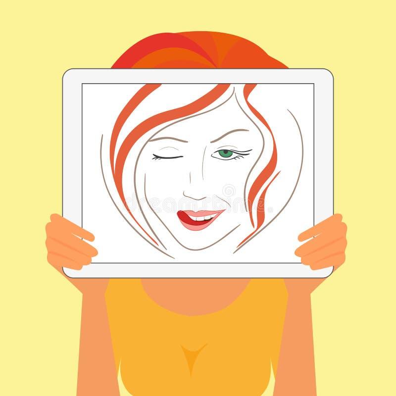 Frau hält den Tabletten-PC, der Modezeichnung anzeigt stock abbildung