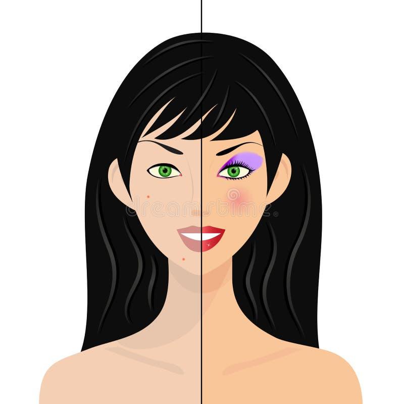 Frau, halbes natürliches, Hälfte mit bilden vektor abbildung