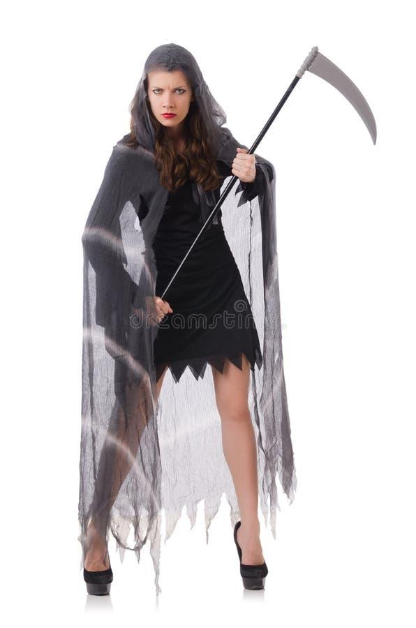 Frau in Halloween-Konzept stockbilder
