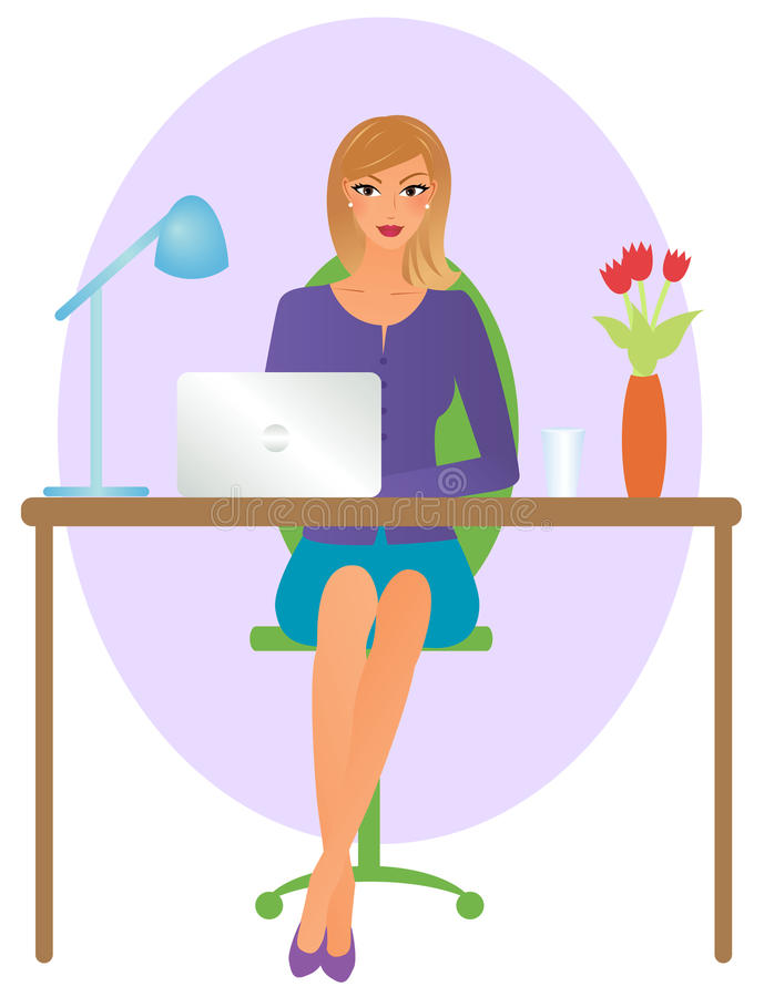 Frau im Büro lizenzfreie abbildung