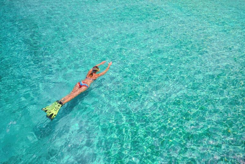 Frau im Badeanzug schwimmt mit Schnorchel und Flossen auf einem blauen wa stockbild