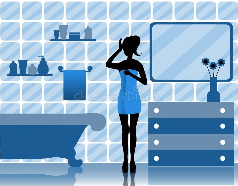 Frau im Badezimmer lizenzfreie abbildung