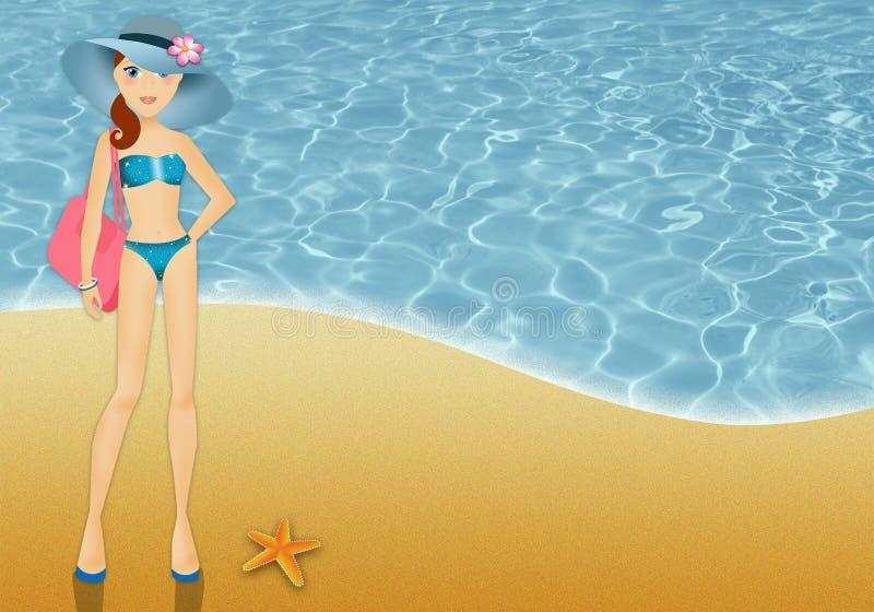 Frau im Bikini im Urlaub stock abbildung