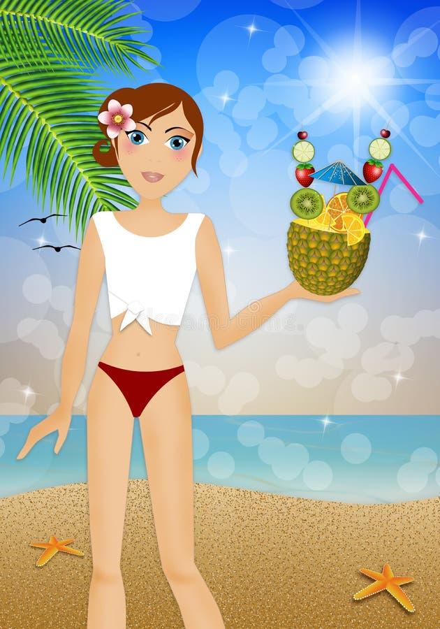 Frau im Bikini mit Ananas vektor abbildung