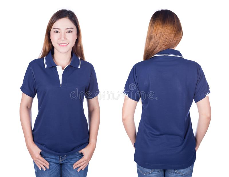 Frau im blauen Polohemd lokalisiert auf weißem Hintergrund lizenzfreie stockfotografie